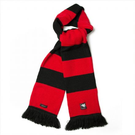 Senlak Knitted Striped Scarf - Black and Red